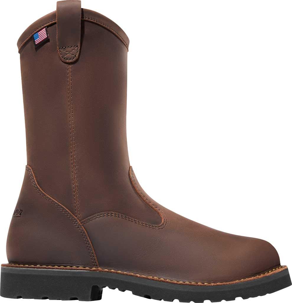 """Men's Danner Bull Run 11"""" Round Still Toe Wellington Boot, Brown Full Grain Leather, large, image 2"""