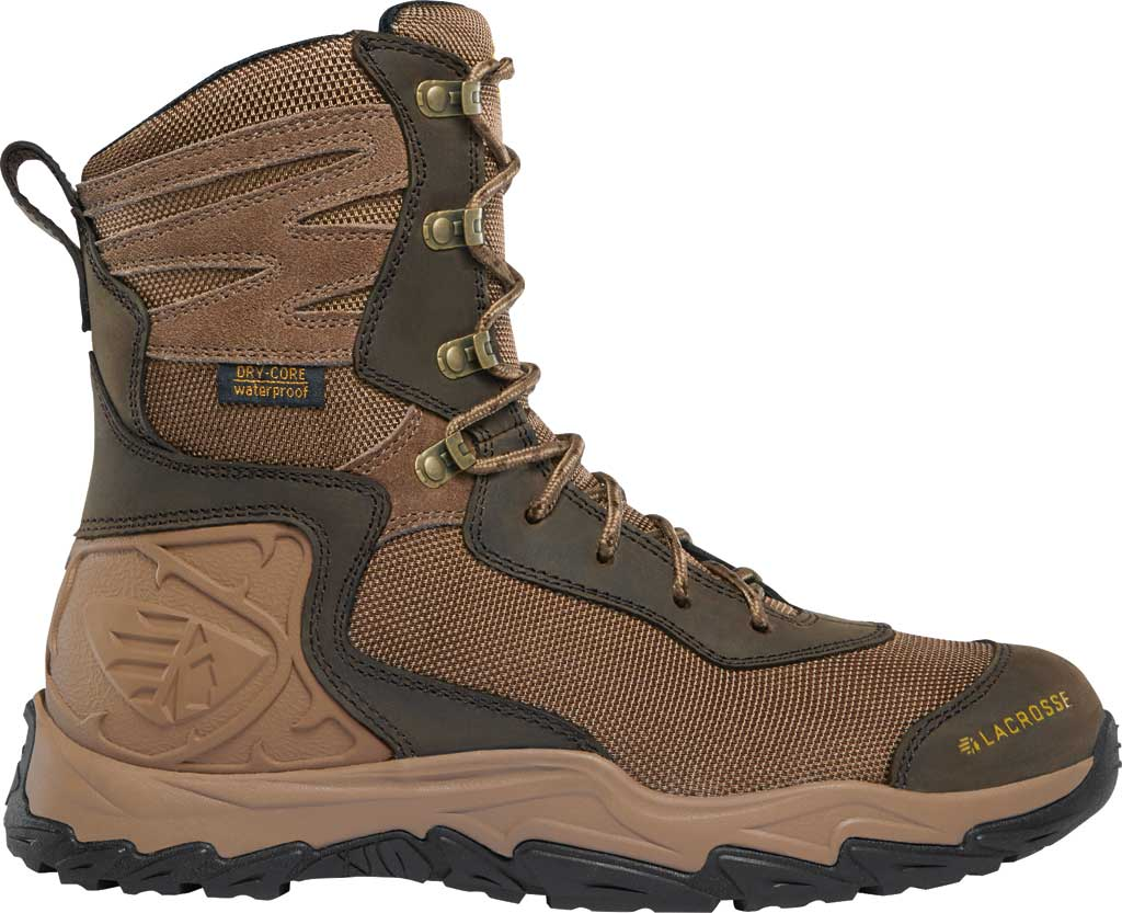"""Men's LaCrosse Windrose 8"""" Lace Up Hunting Boot, Brown Nubuck Leather/Textile, large, image 1"""