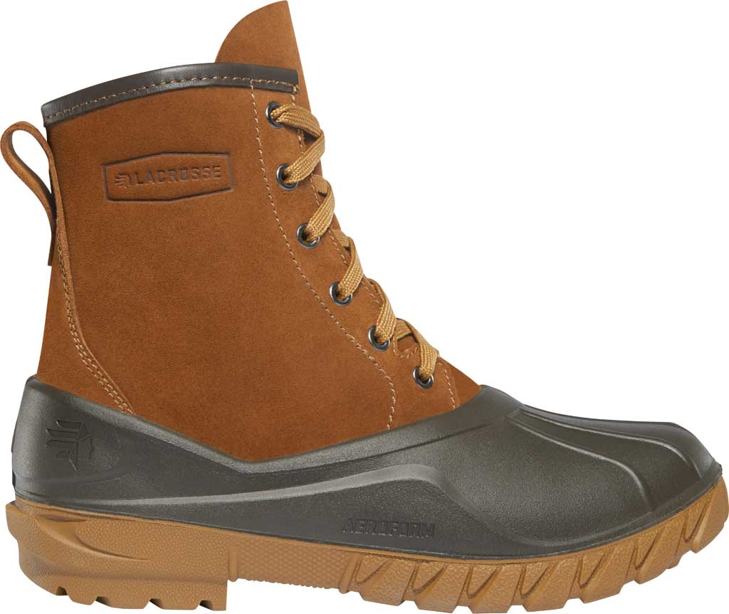 """Women's LaCrosse Aero Timber Top 8"""" Duck Boot, Clay Brown Suede/Polyurethane, large, image 1"""