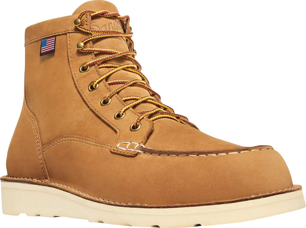 "Men's Danner Bull Run 6"" Moc Toe Work Boot 15577, Wheat Nubuck Leather, large, image 1"