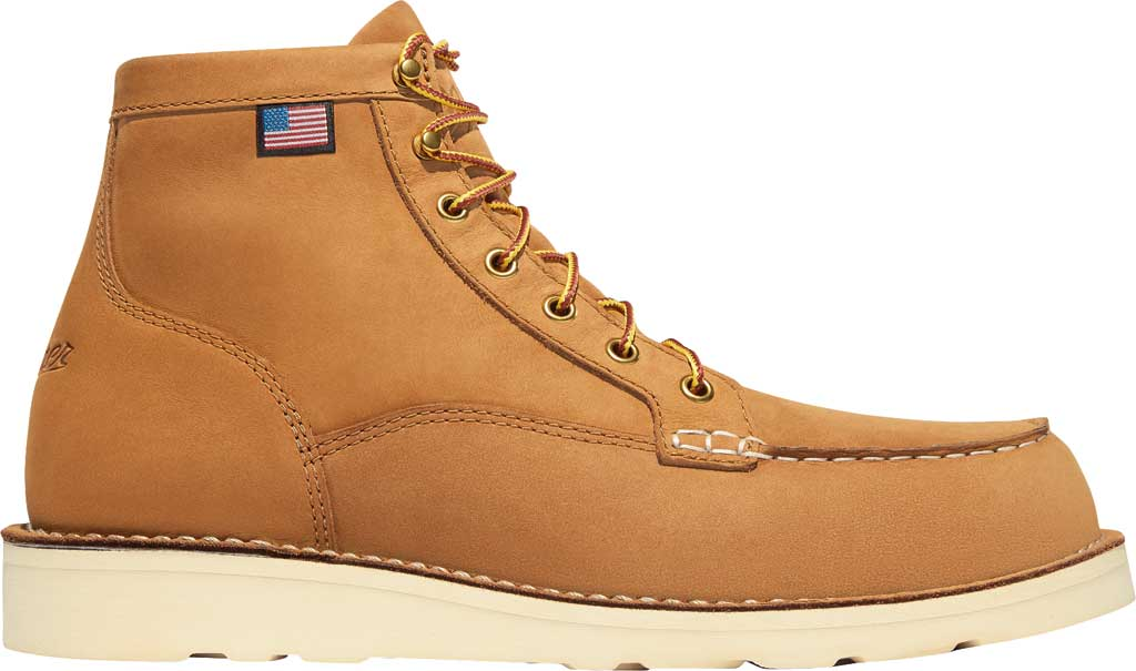 "Men's Danner Bull Run 6"" Moc Toe Work Boot 15577, Wheat Nubuck Leather, large, image 2"