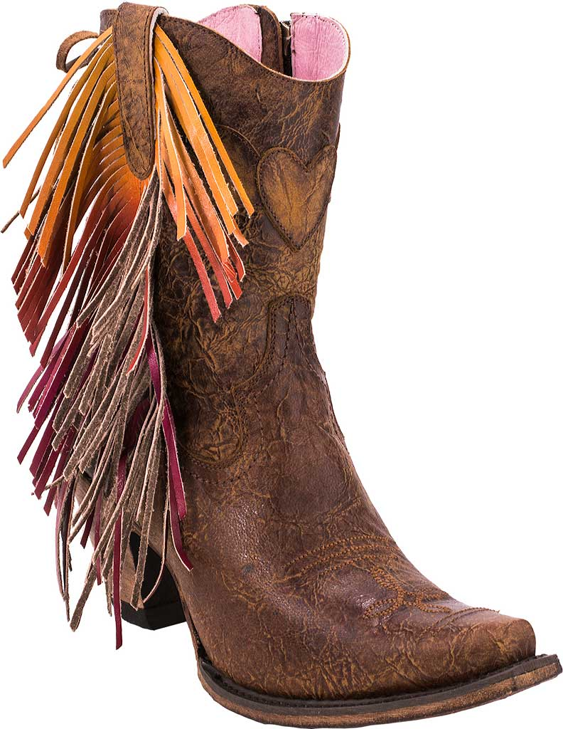 Women's Junk Gypsy by Lane Spirit Animal Western Ankle Bootie, Brown Calf Leather, large, image 1