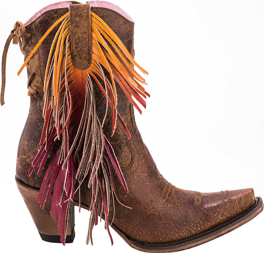 Women's Junk Gypsy by Lane Spirit Animal Western Ankle Bootie, Brown Calf Leather, large, image 2