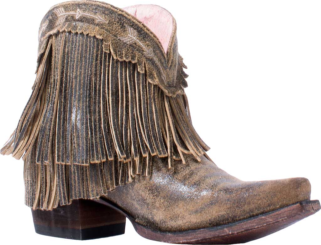 Women's Junk Gypsy by Lane Spitfire Fringe Western Bootie, Brown Calf Leather, large, image 1