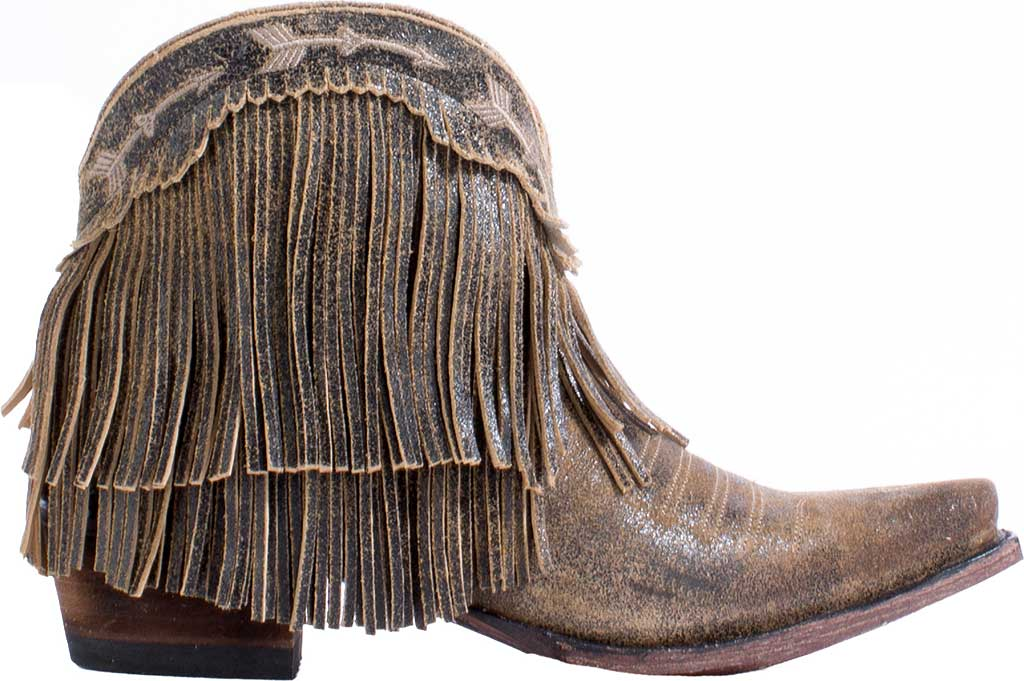Women's Junk Gypsy by Lane Spitfire Fringe Western Bootie, Brown Calf Leather, large, image 2