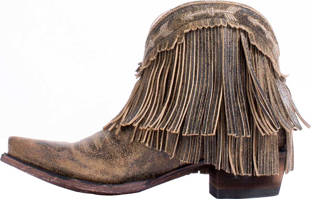 Women's Junk Gypsy by Lane Spitfire Fringe Western Bootie, Brown Calf Leather, large, image 3