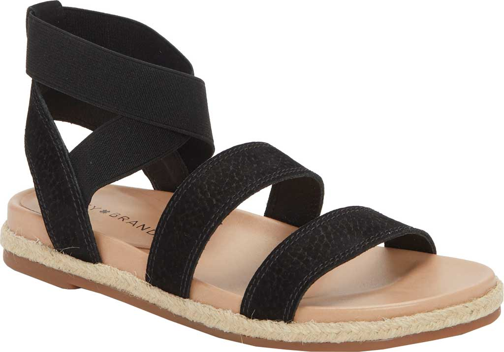 Women's Lucky Brand Dilane Strappy Ankle Strap Sandal, Black/Natural Embossed Nubuck/Elastic, large, image 1