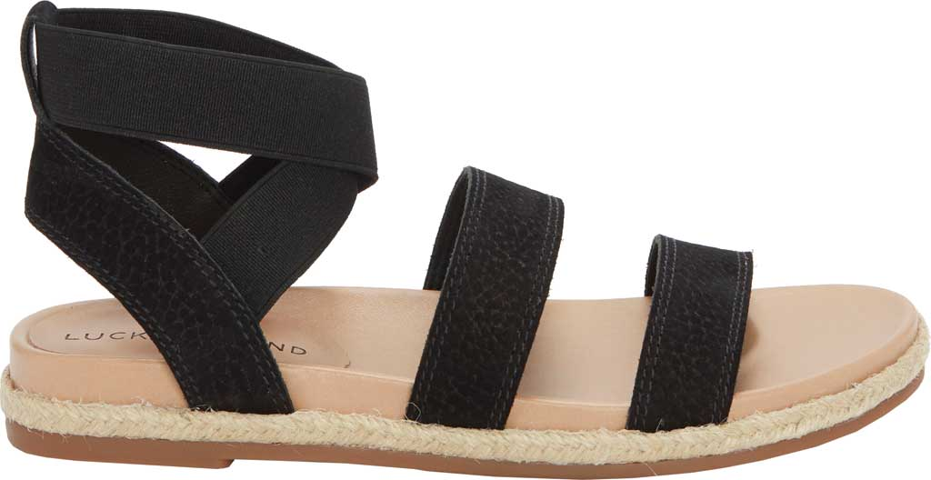 Women's Lucky Brand Dilane Strappy Ankle Strap Sandal, Black/Natural Embossed Nubuck/Elastic, large, image 2