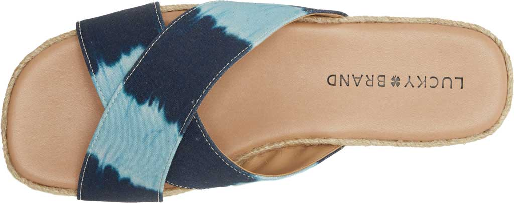 Women's Lucky Brand Gayte Flatform Slide, Dark Denim Tie Dye Distressed Canvas/Cotton, large, image 6