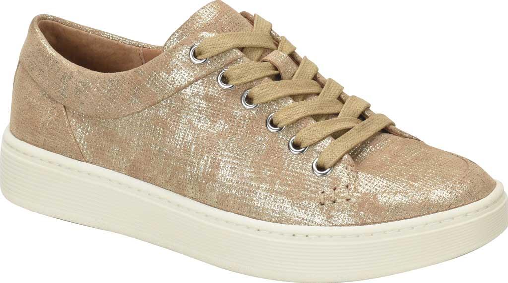 Women's Sofft Sanders Sneaker, Platino Distressed Metallic Suede, large, image 1