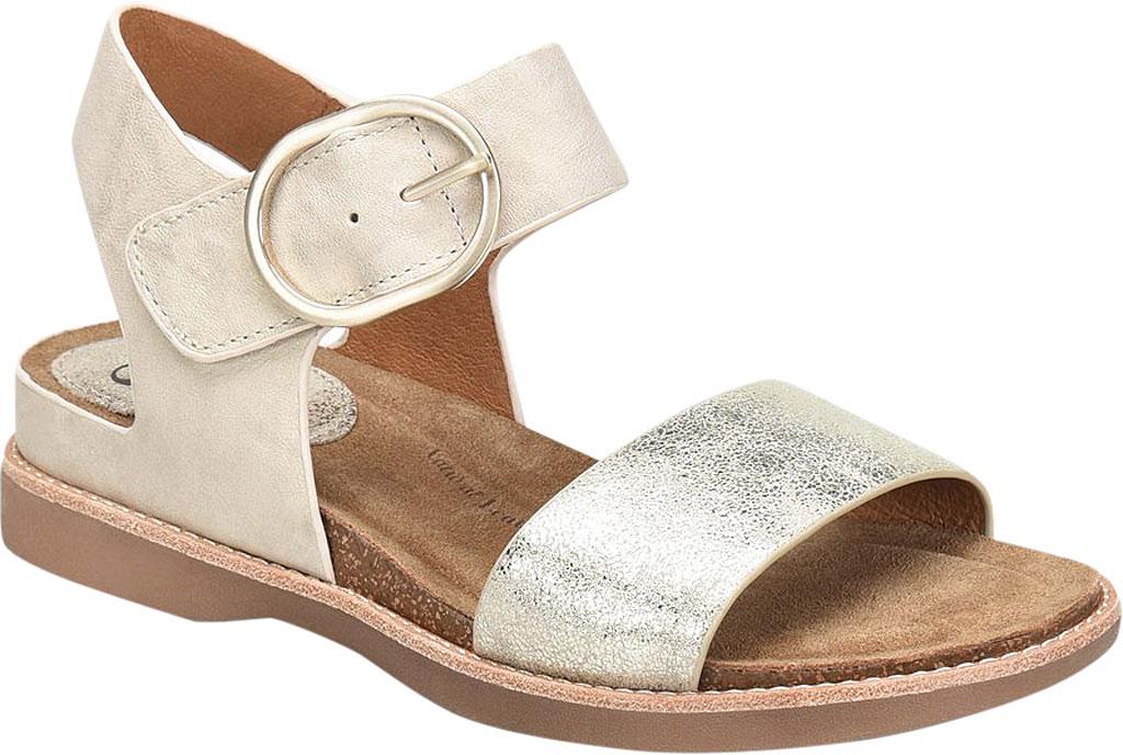 Women's Sofft Bali Ankle Strap Sandal, Light Grey/Platino Euforia/Nuvola Metallic Leather, large, image 1
