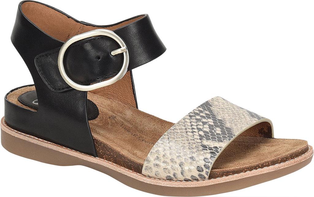 Women's Sofft Bali Ankle Strap Sandal, Black/Black/Cream Leather/Metallic Leather, large, image 1