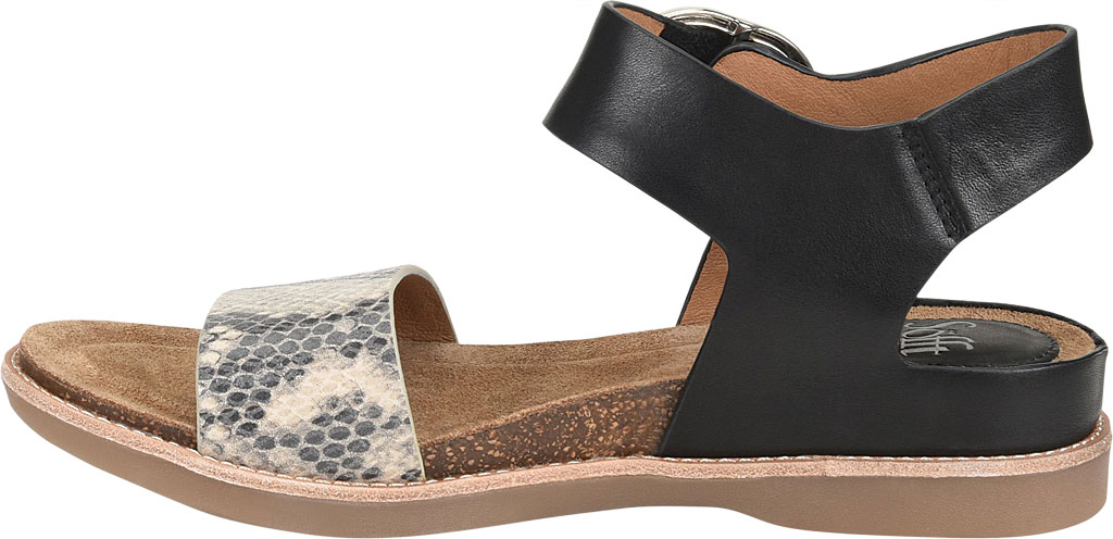 Women's Sofft Bali Ankle Strap Sandal, Black/Black/Cream Leather/Metallic Leather, large, image 3