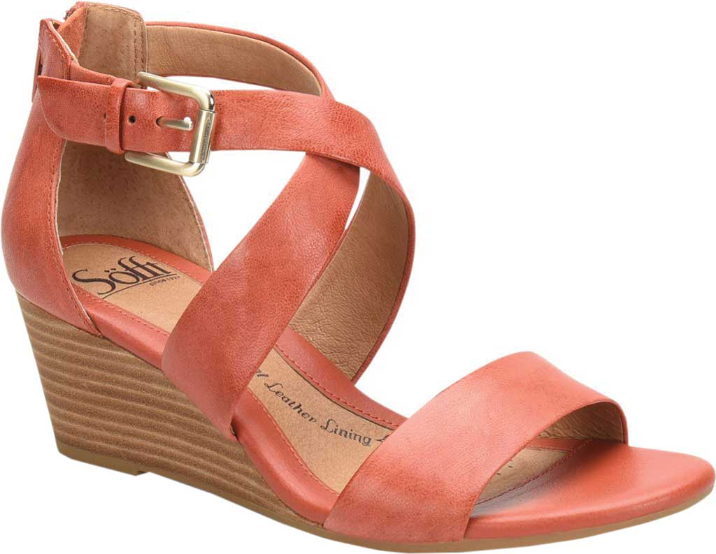 Women's Sofft Mauldin Strappy Wedge Sandal, Mango Smooth Leather, large, image 1