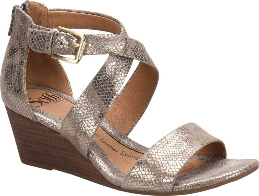 Women's Sofft Mauldin Strappy Wedge Sandal, Taupe Metallic Leather, large, image 1