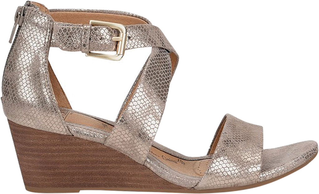 Women's Sofft Mauldin Strappy Wedge Sandal, Taupe Metallic Leather, large, image 2