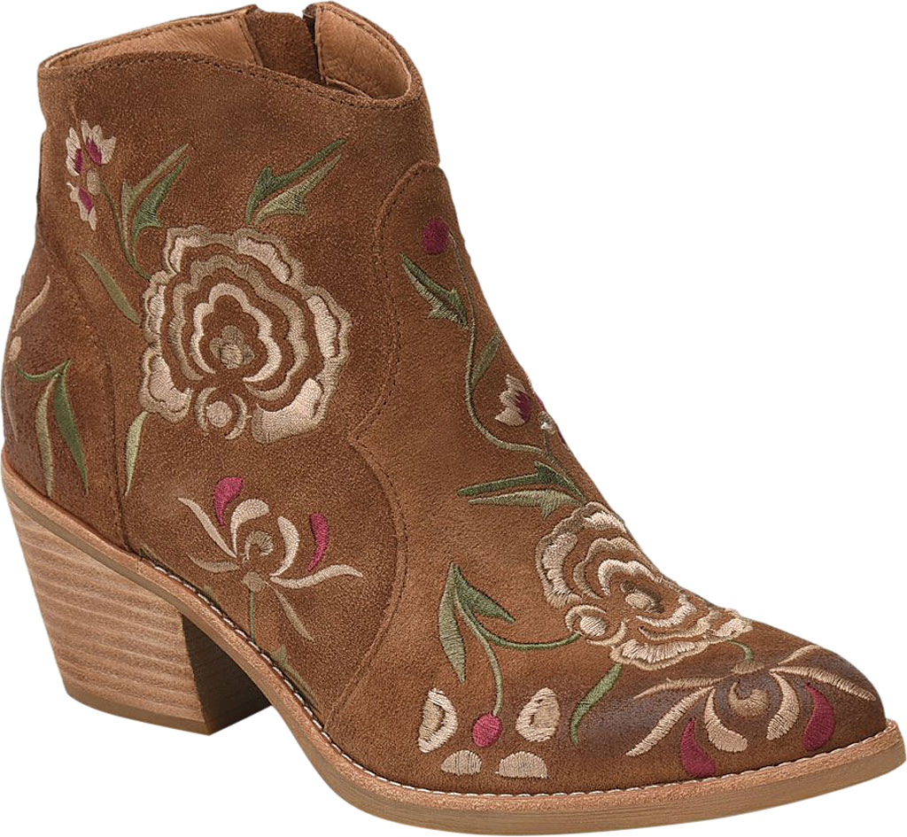 Women's Sofft Westmont II Embroidered Bootie, Light Brown Floral Embroidered Cow Suede, large, image 1