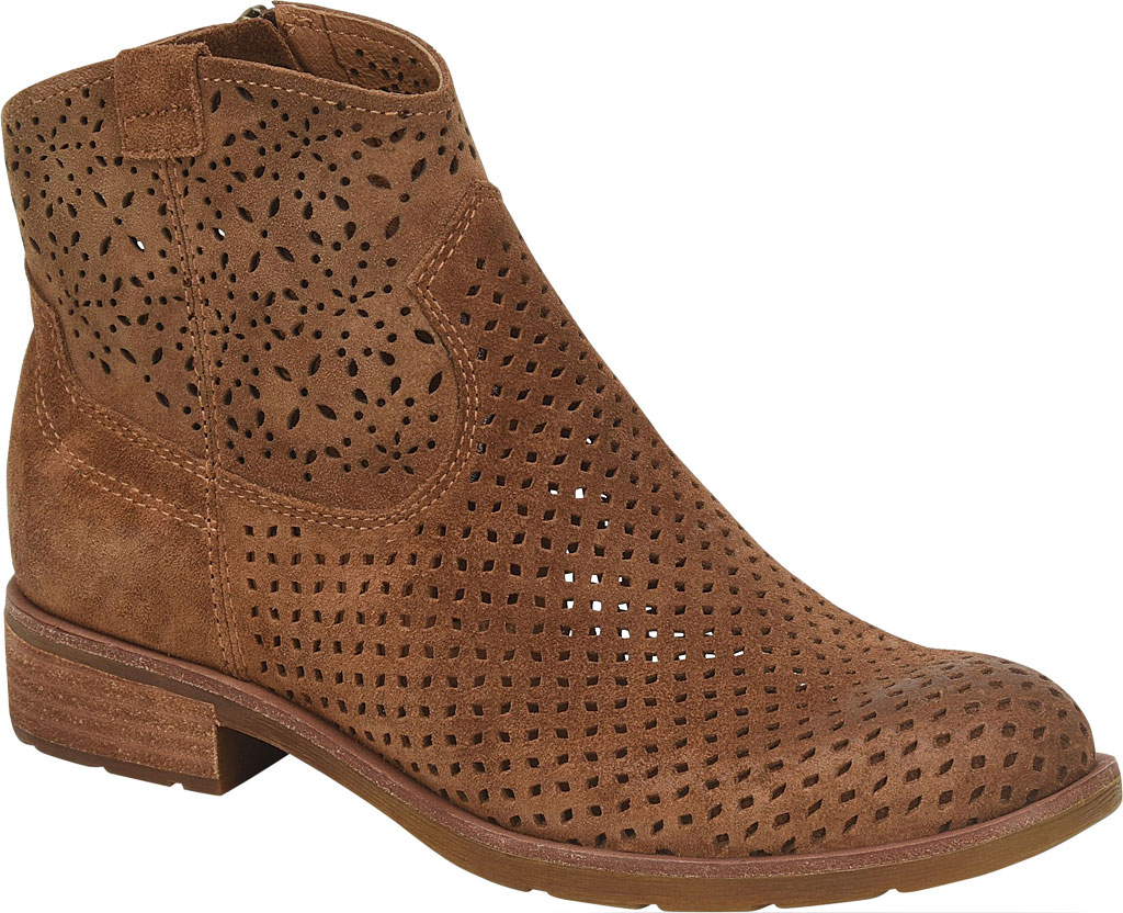 Women's Sofft Brooklee Perforated Ankle Bootie, Light Brown Cow Suede, large, image 1