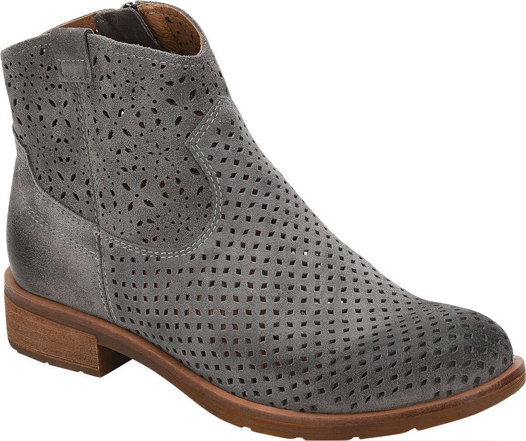 Women's Sofft Brooklee Perforated Ankle Bootie, Steel Grey Cow Suede, large, image 1