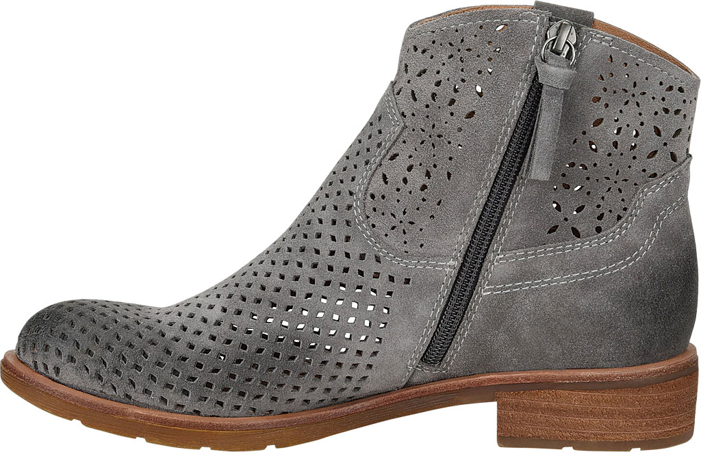 Women's Sofft Brooklee Perforated Ankle Bootie, Steel Grey Cow Suede, large, image 3