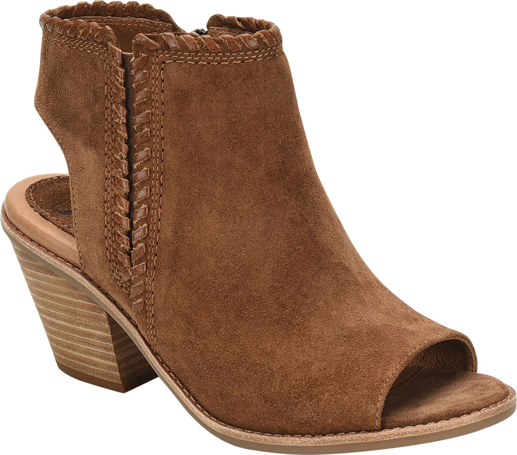 Women's Sofft Maleigha Heeled Open Toe Bootie, Light Brown Cow Suede, large, image 1