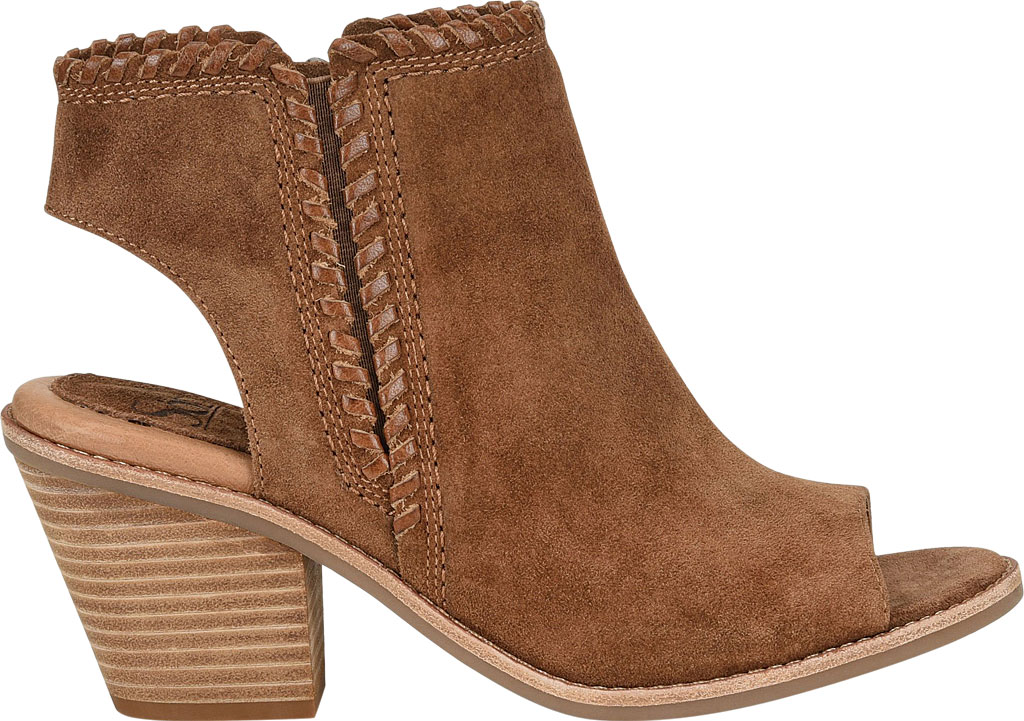 Women's Sofft Maleigha Heeled Open Toe Bootie, Light Brown Cow Suede, large, image 2