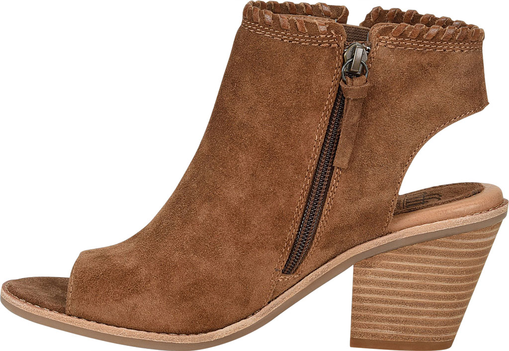 Women's Sofft Maleigha Heeled Open Toe Bootie, Light Brown Cow Suede, large, image 3