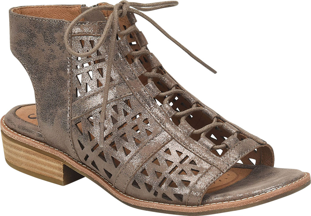 Women's Sofft Nora Perforated Open Toe Bootie, Smoke Distressed Foil Suede, large, image 1