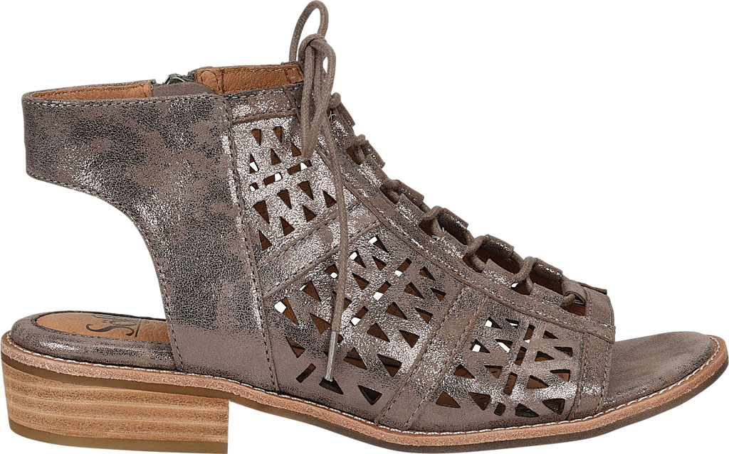 Women's Sofft Nora Perforated Open Toe Bootie, Smoke Distressed Foil Suede, large, image 2