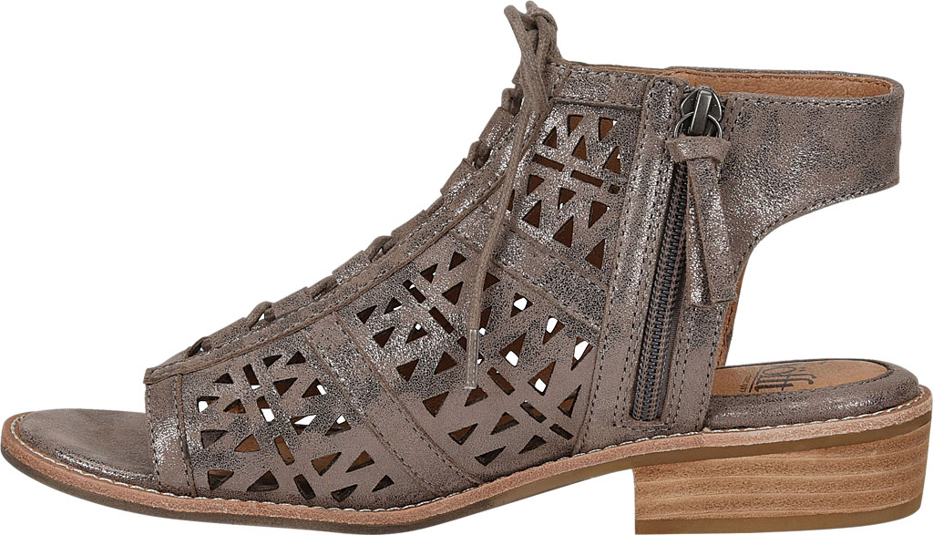 Women's Sofft Nora Perforated Open Toe Bootie, Smoke Distressed Foil Suede, large, image 3