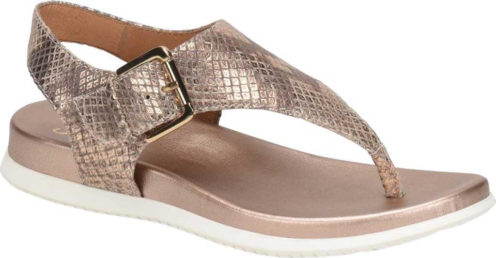 Women's Sofft Farlyn Platform Thong Sandal, Warm Gold Snake Metallic Leather, large, image 1