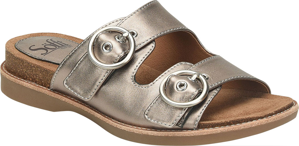 Women's Sofft Brooklyn Two Strap Slide, Anthracite City Lights Metallic Leather, large, image 1