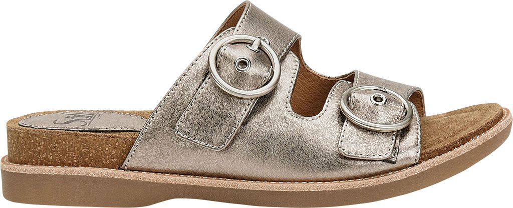 Women's Sofft Brooklyn Two Strap Slide, Anthracite City Lights Metallic Leather, large, image 2