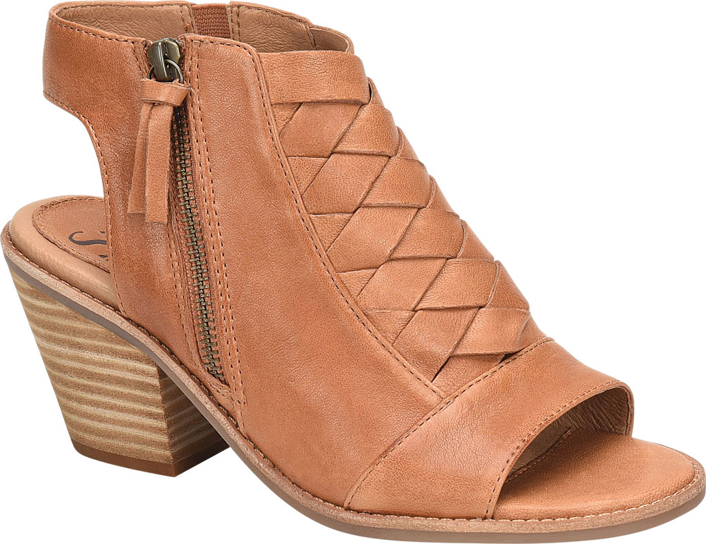 Women's Sofft Mckenna Heeled Open Toe Bootie, Luggage Leather, large, image 1