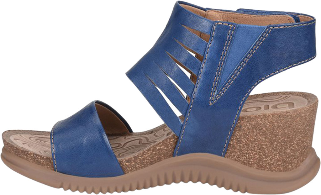 Women's Bionica Gracen Two Piece Wedge Sandal, Royal Blue Oyster Leather, large, image 3