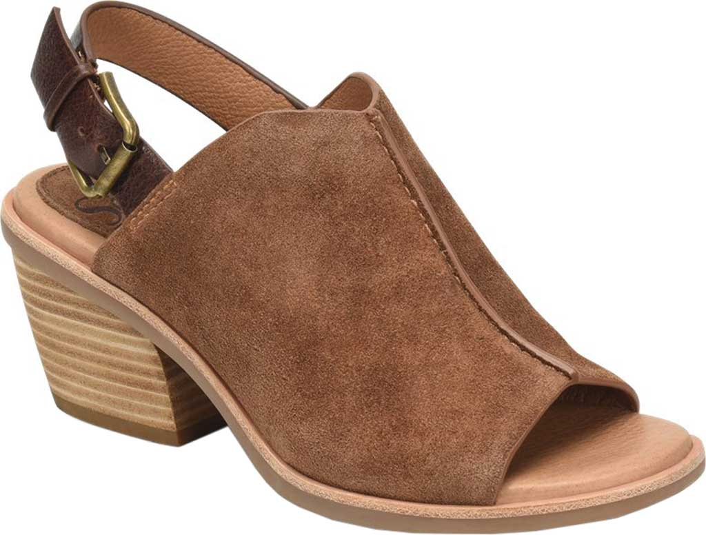 Women's Sofft Pelonia Heeled Slingback Sandal, Light Brown Cow Suede, large, image 1