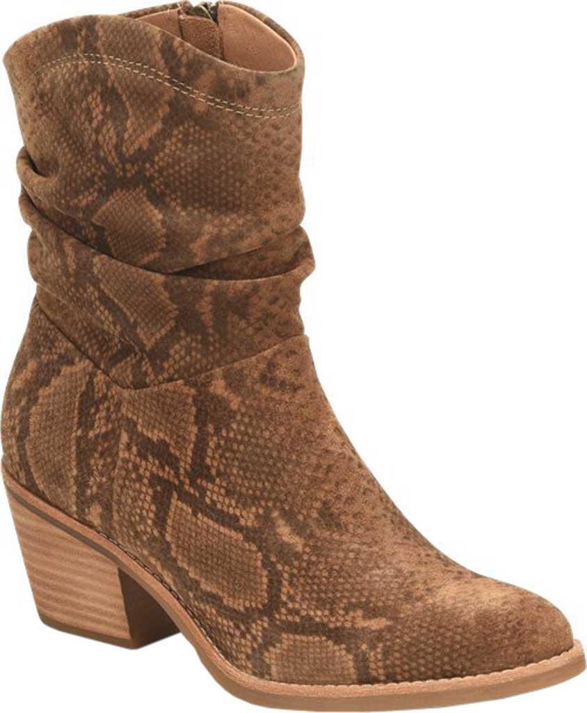 Women's Sofft Aronna Waterproof Slouch Boot, Cognac Waterproof Snake Print Suede, large, image 1
