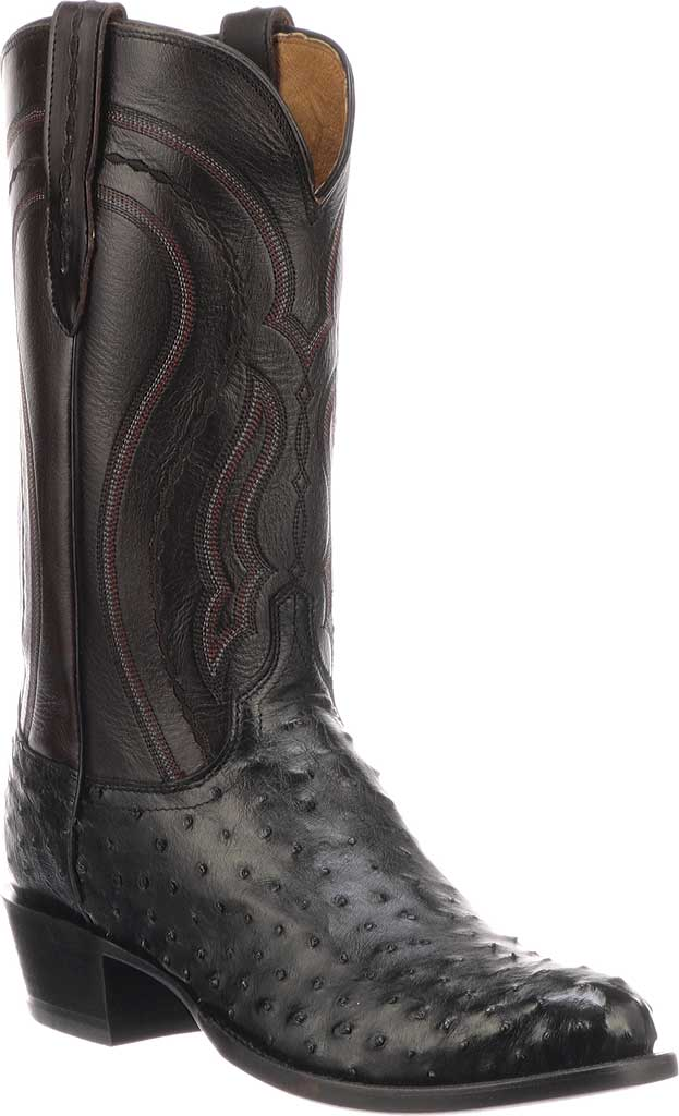 Men's Lucchese Bootmaker M1608.R4 Rounded Toe Cowboy Heel Boot, Black Full Quill Ostrich, large, image 1