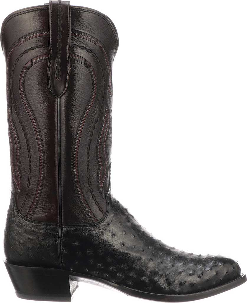 Men's Lucchese Bootmaker M1608.R4 Rounded Toe Cowboy Heel Boot, Black Full Quill Ostrich, large, image 2