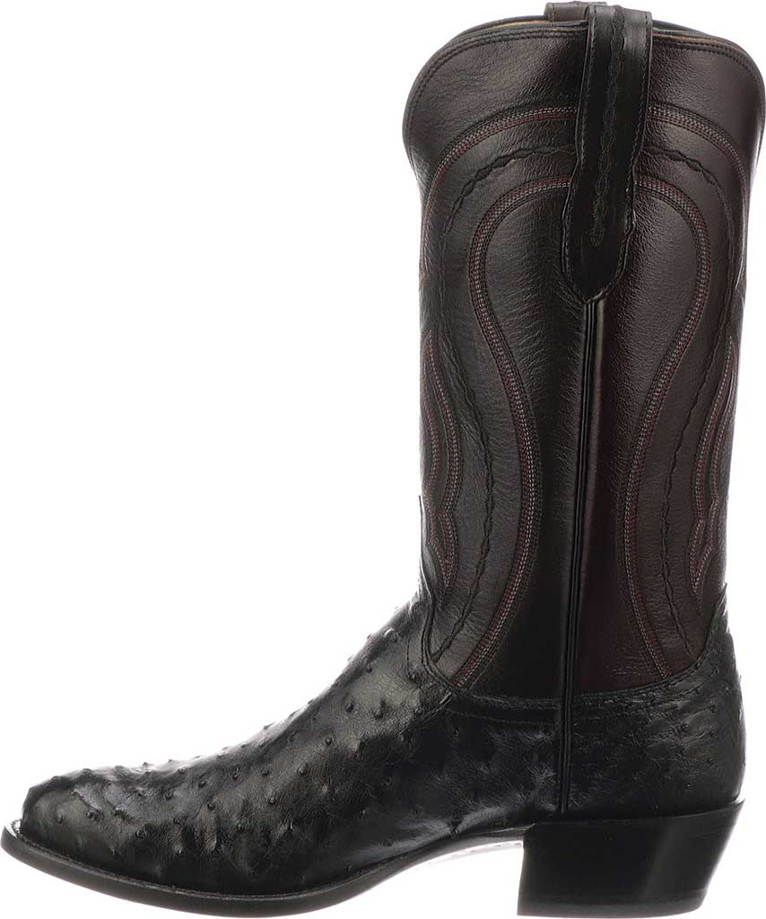 Men's Lucchese Bootmaker M1608.R4 Rounded Toe Cowboy Heel Boot, Black Full Quill Ostrich, large, image 3