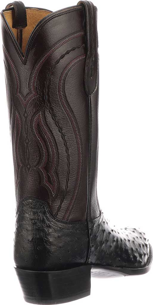 Men's Lucchese Bootmaker M1608.R4 Rounded Toe Cowboy Heel Boot, Black Full Quill Ostrich, large, image 5