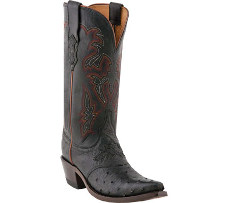 Women's Lucchese Bootmaker M5603.S54 Spring Snip Toe Cowboy Heel Boot, Black Full Quill Ostrich/Black Tucson Calf, large, image 1