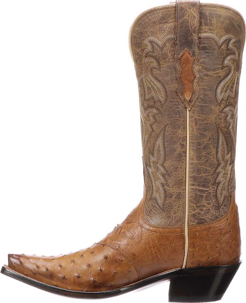 Women's Lucchese Bootmaker M5603.S54 Spring Snip Toe Cowboy Heel Boot, Black Full Quill Ostrich/Black Tucson Calf, large, image 3