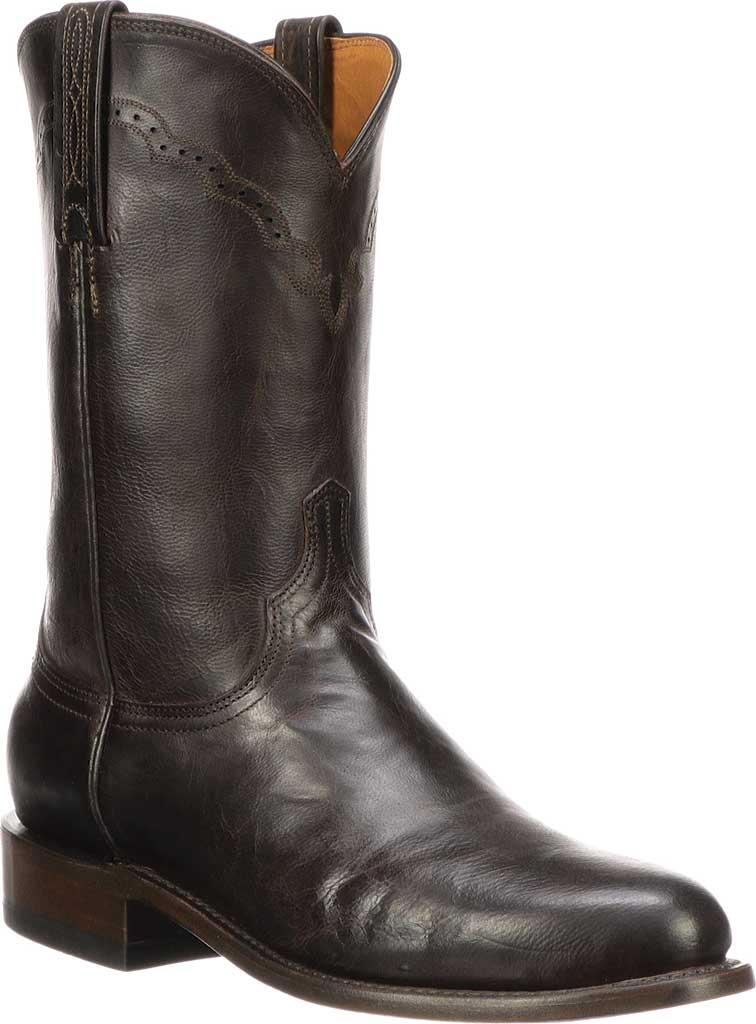 Men's Lucchese Bootmaker M1018.C2 Round Roper Toe 2 Heel, Chocolate Madras Goat, large, image 1