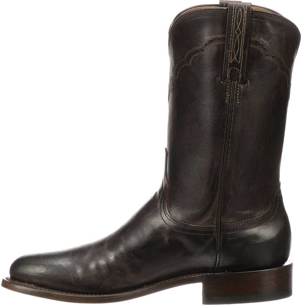 Men's Lucchese Bootmaker M1018.C2 Round Roper Toe 2 Heel, Chocolate Madras Goat, large, image 3