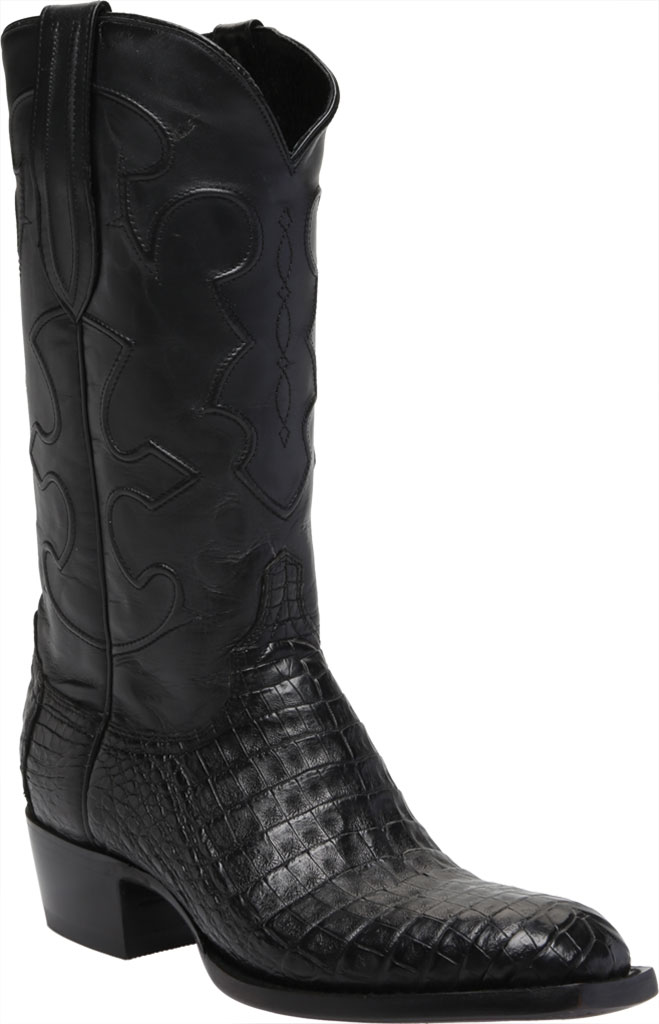 Men's Lucchese Bootmaker Charles 1 Toe Boot, Black Crocodile Belly, large, image 1