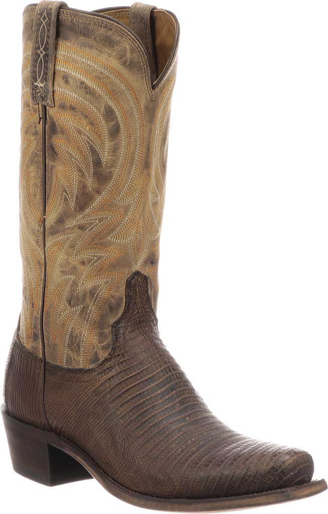 Men's Lucchese Bootmaker Percy Squared Off Toe Cowboy Heel Boot, Antique Tan Lizard, large, image 1