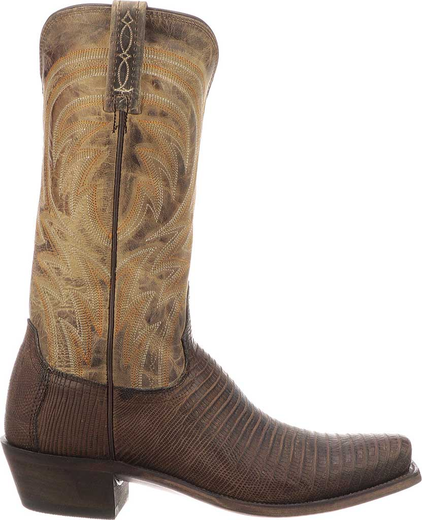 Men's Lucchese Bootmaker Percy Squared Off Toe Cowboy Heel Boot, Antique Tan Lizard, large, image 2