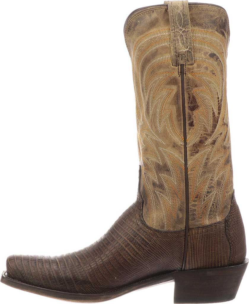 Men's Lucchese Bootmaker Percy Squared Off Toe Cowboy Heel Boot, Antique Tan Lizard, large, image 3