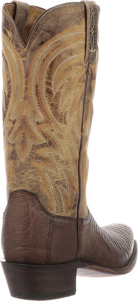 Men's Lucchese Bootmaker Percy Squared Off Toe Cowboy Heel Boot, Antique Tan Lizard, large, image 5